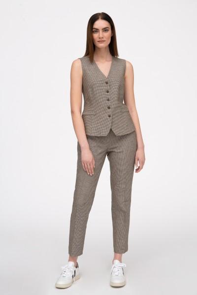 Spodnie w kant o wzorze drobnej kratki w odcieniach brązu