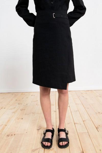 Asymetryczna czarna spódnica z lnem długości midi