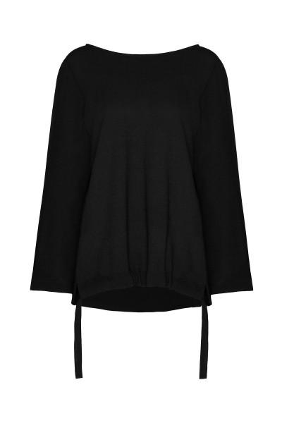 Czarna bluzka oversize z wiązaniem