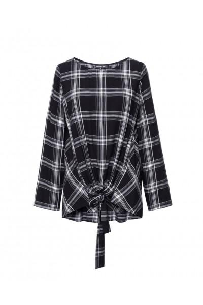 Luźna bluzka w czarno-białą kratę z wiązaniem