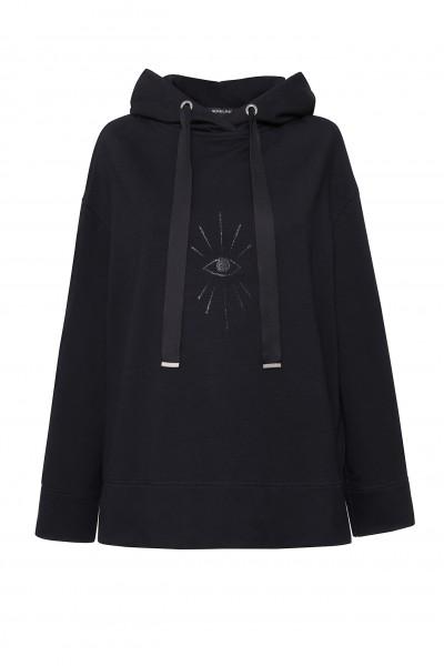 Bluza z kapturem i zdobieniem w kolorze czarnym