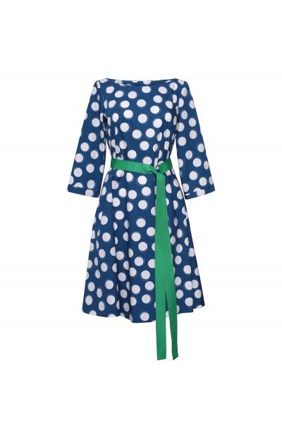 Bawełniana sukienka w grochy z podkreśloną talią