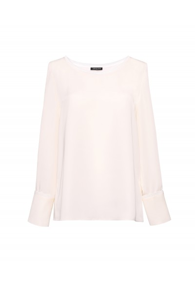 Elegancka bluzka o prostym kroju w kolorze ecru