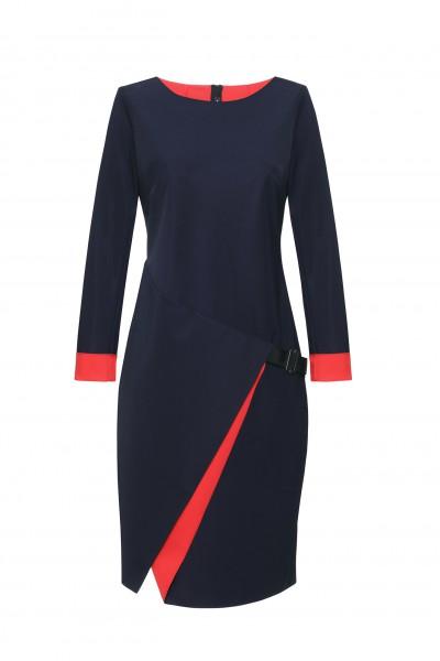 Granatowa sukienka z kontrastową wstawką