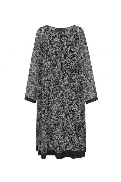Luźna sukienka ze zwierzęcym wzorem w kolorze bieli i czerni
