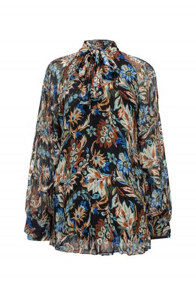 Luźna bluzka z kreszowanej tkaniny w kwiatowy wzór