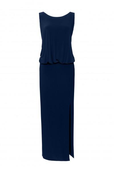 Długa sukienka z półprzeźroczystymi plecami z kolorze granatowym