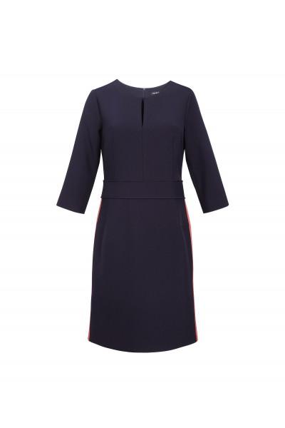 Granatowa sukienka z plisowanym wykończeniem dołu