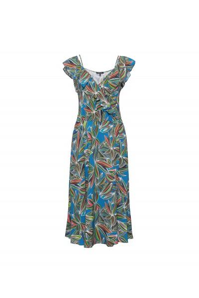 Rozkloszowana zwiewna sukienka z falbaną przy dekolcie