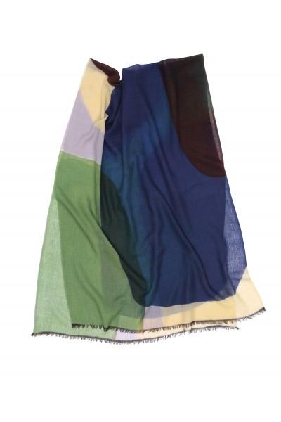 Wełniany szal w odcieniach niebieskiego i zieleni