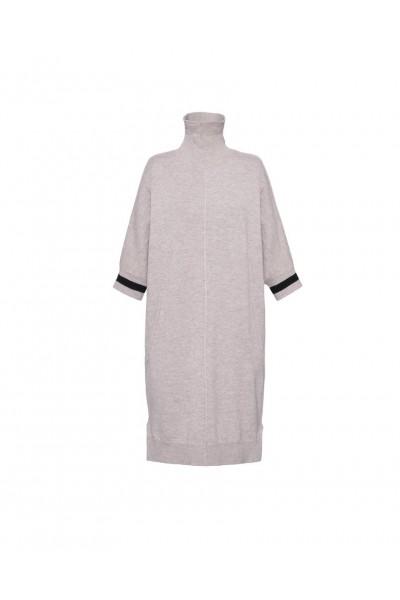 Beżowa sukienka z wełny merynosa