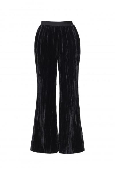 Welurowe eleganckie spodnie w czarnym kolorze