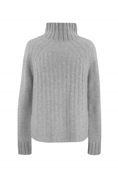 Sweter z wełny merino ze zdobionym golfem w kolorze szarym
