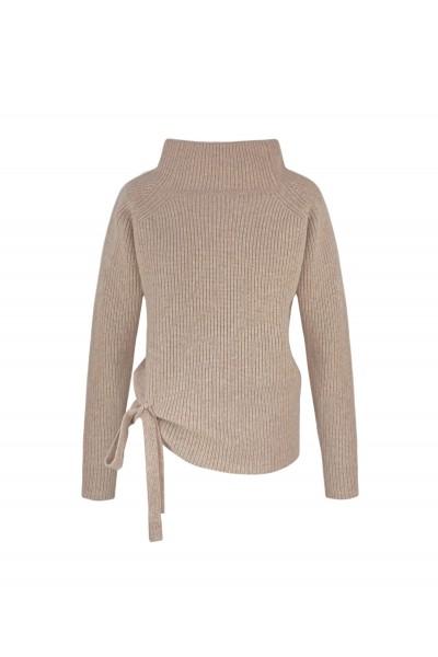 Ciepły sweter w kolorze beżowym z wełny i kaszmiru