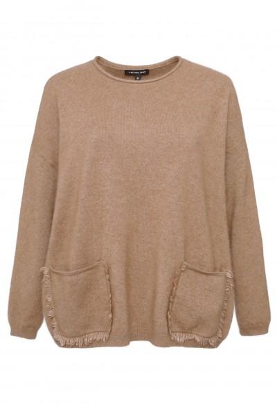 Brązowy sweter z ozdobnymi kieszeniami