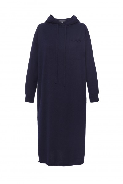 Wełniana sukienka z kapturem w kolorze granatowym