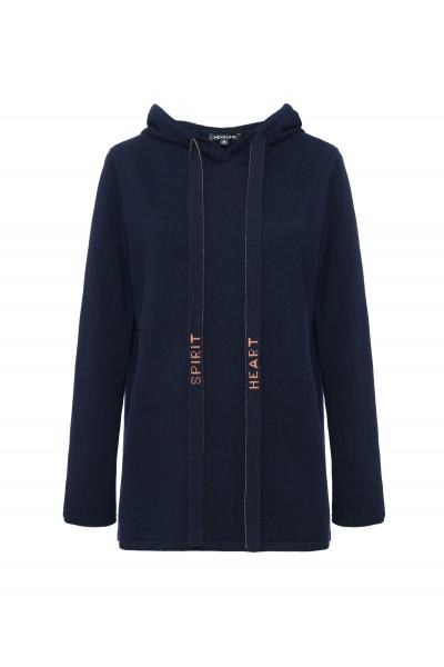 Granatowy sweter z kapturem