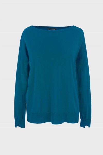 Termoaktywny sweter z wełny merino w kolorze turkusowym
