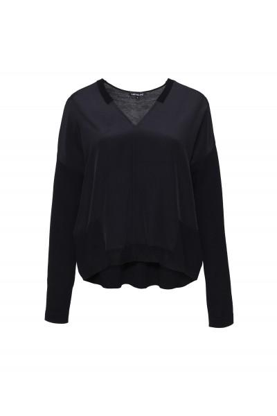 Cienki sweter w kolorze czarnym merino wool & silk