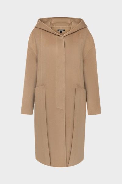 Płaszcz z kapturem w kolorze camelowym