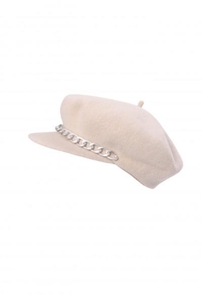 Beżowa czapka z daszkiem 100% wełna