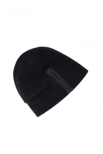 Elegancka wełniana czapka w kolorze czarnym
