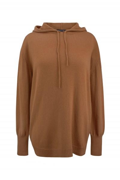 Wełniany oversize'owy sweter z kapturem w kolorze brązu