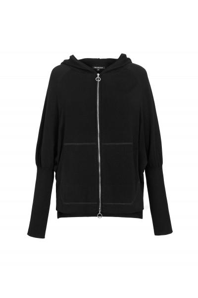 Zapinany czarny sweter z wełny merynosa