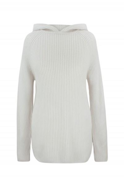Kaszmirowy sweter z kapturem w perłowym kolorze