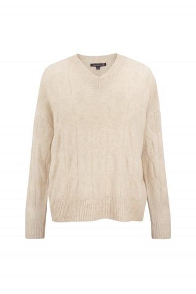 Beżowy sweter oversize z czystego kaszmiru