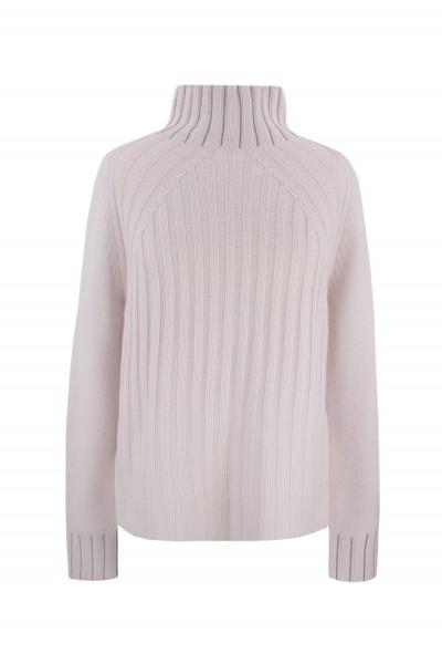 Sweter z wełny merino ze zdobionym golfem w kolorze pudrowego różu