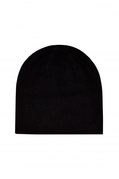 Dwustronna czapka z wełny i kaszmiru czarno-beżowa