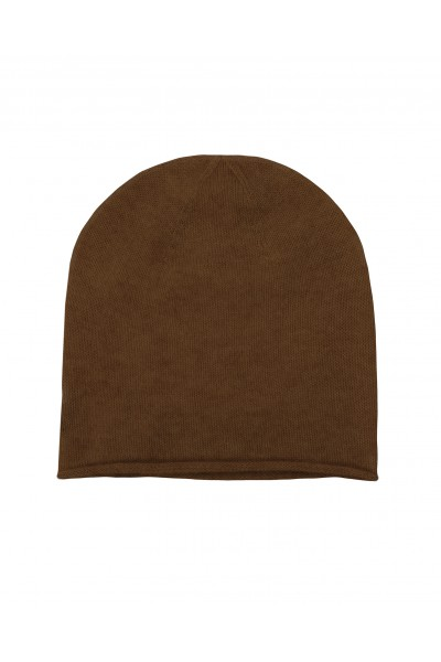 Kaszmirowa czapka w kolorze camelowym