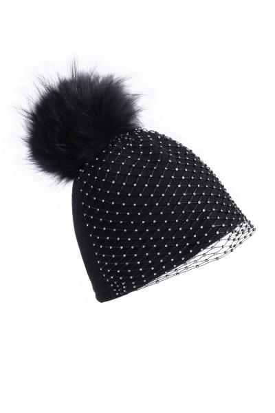 Czarna czapka z woalką i pomponem