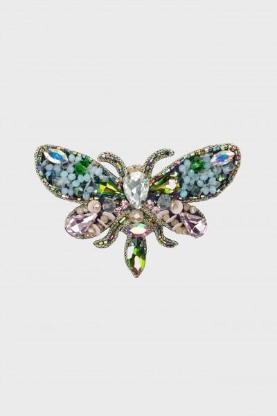 Ozdobna broszka z kolorowych kryształów
