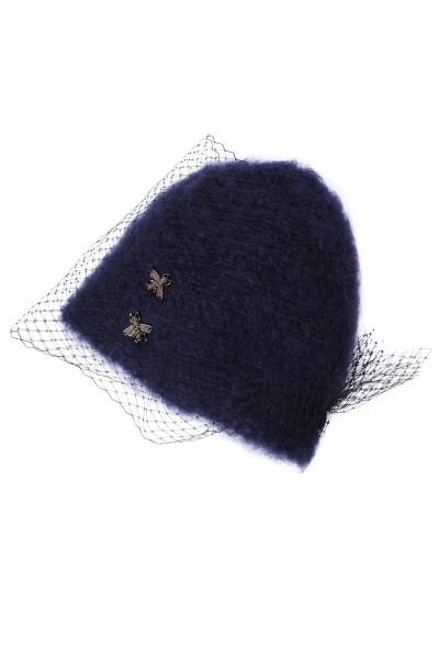 Granatowa czapka z woalką i aplikacjami
