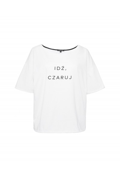Biały T-shirt oversize z nadrukiem