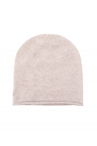 Beżowa czapka z czystego kaszmiru