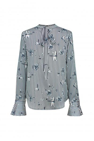 Bluzka w czarno-białe paski z niebieskimi akcentami