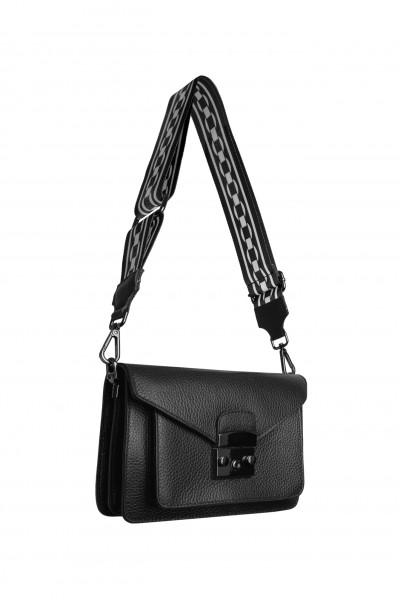 Mała torebka z ozdobnym paskiem w kolorze czarnym