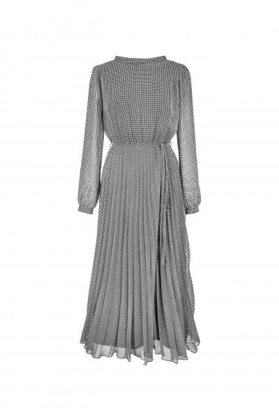 Sukienka plisowana ze wzorem w kurzą stopkę