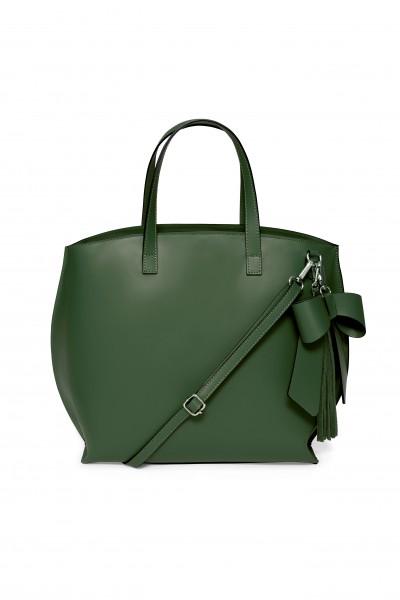 Skórzana torba z kokardą w kolorze zielonym