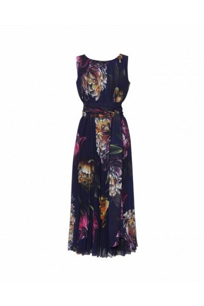 Plisowana sukienka w kwiaty z szarfą