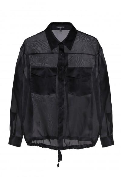 Koszula z jedwabnej organzy w czarym kolorze