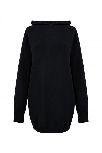 Czarny sweter z kapturem 100% bawełny