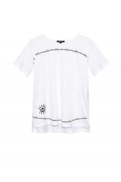 Bawełniany luźny t-shirt z nadrukiem w kolorze białym