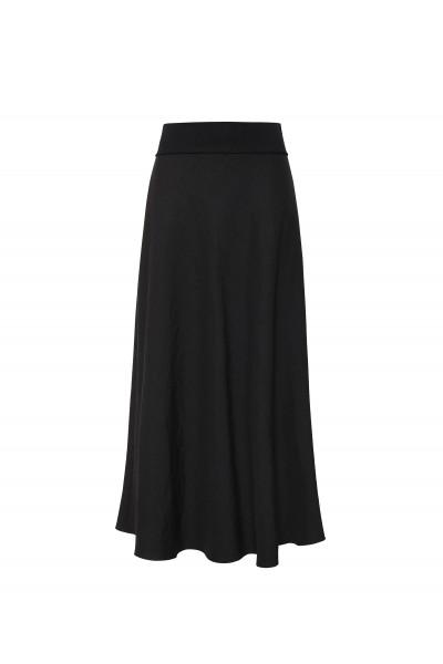 Rozkloszowana maxi spódnica z lnu w kolorze czarnym