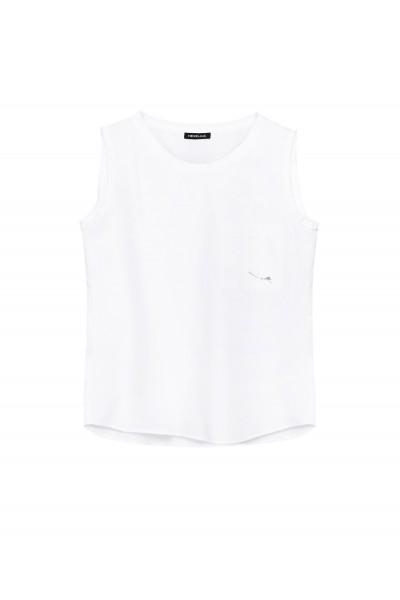 Bawełniany top z kieszonką w białym kolorze