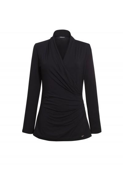 Czarna bluzka z jerseyu marszczeniem zakładana kopertowo