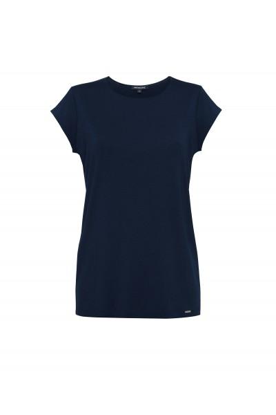 Granatowy t-shirt z krótkim rękawem
